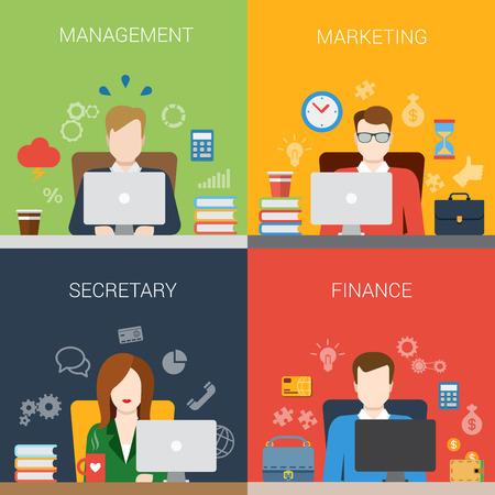 직장 웹 사이트 배너 인포 그래픽 아이콘에서 플랫 스타일 관리 마케팅 사무 금융 명을 설정합니다. 웹 인포 그래픽 컬렉션입니다.