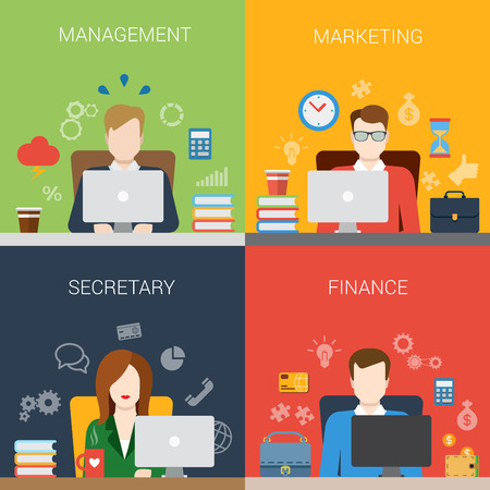 Flat style management marketing secretary finance people at workplace website banner infographic icon set. Web infographics collection. Çizim