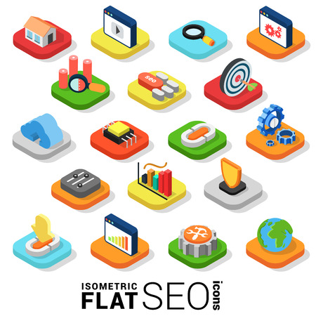 Flat 3d isometric trendy style SEO search engine optimization marketing web mobile app infographics icon set. Website application collection.