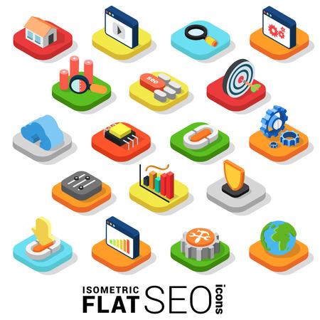 Flat 3d isometrische trendy stijl SEO zoekmachine optimalisatie marketing web mobiele app infographics icon set. Website applicatie collectie.