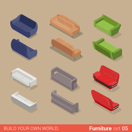 Office furniture set 05 sofa seat couch divan lounge element flat 3d isometry isometric concept web infographics vector illustration. Creative interior objects collection.
