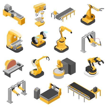 Mieszkanie 3d izometrycznej przemysł ciężki sprzęt ikony zestaw infografiki ilustracja koncepcji internetowych wektorowych. Do drewna Pilarki robotyki ench układanki manipulatora robota zrobotyzowane. Twórczy ludzie kolekcji. Ilustracje wektorowe