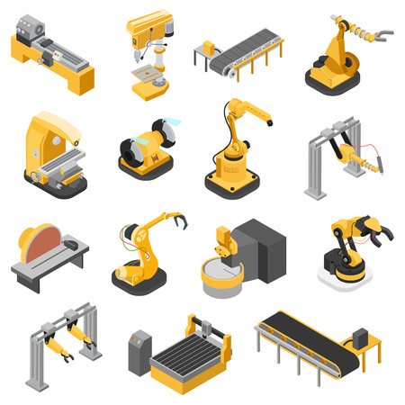 Piatto 3d isometrico industria pesante icona macchinari set illustrazione infografica concetto di web vettoriale. La lavorazione del legno Seghe robotica ench puzzle robot manipolatore robotizzate. persone collezione creativa. Vettoriali