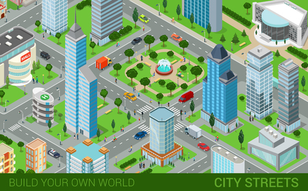 fountains: City block streets transport blocks concept. Modern trendy flat 3d isometric infographics. Street buildings cars vans ice cream square park fountain business center park. Build your own world.