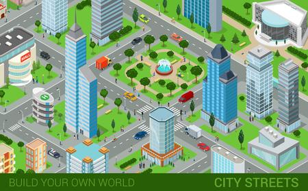 entertainment center: City block streets transport blocks concept. Modern trendy flat 3d isometric infographics. Street buildings cars vans ice cream square park fountain business center park. Build your own world.