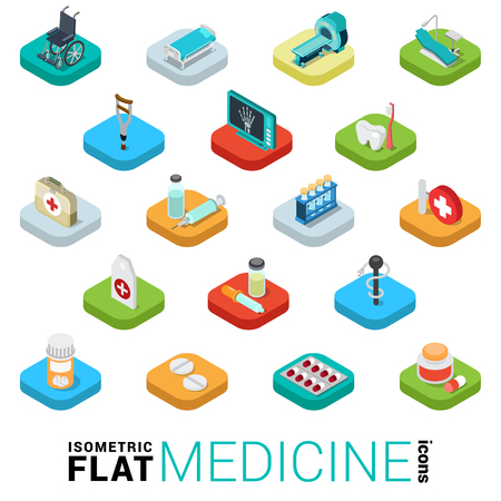 kip: Flat 3d isometric trendy style medicine medical health care cure pharmacy pharmaceutics lab web mobile app infographics icon set. Pills dentist x-ray syringe tools. Website application collection.