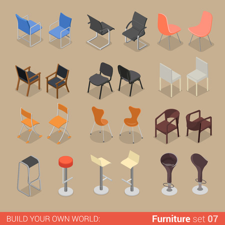 isometry: Office home bar restaurant furniture set 07 chair seat armchair stool lounge element flat 3d isometry isometric concept web infographics vector illustration. Creative interior objects collection.