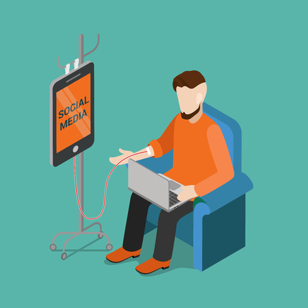 artistic addiction: Flat 3d isometric social media technology gadget addiction concept web infographics vector illustration. Young man on chair with laptop and smartphone on drop counter dropper. Creative people collection.