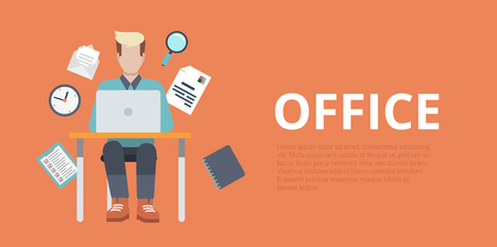 sitting at table: Flat style website slider banner office workplace concept web infographics. Young man sitting table working laptop vector illustration icons.