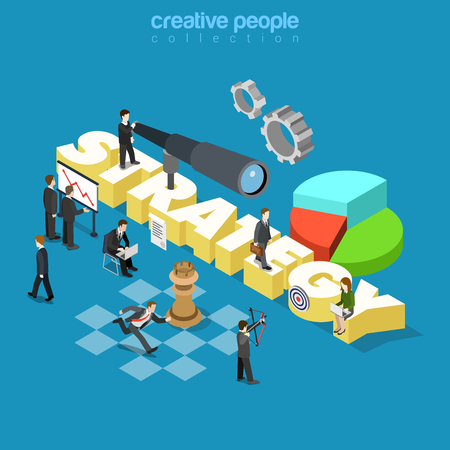 metaphoric: Flat 3d isometric style business corporate company strategy concept web infographics vector illustration. Businessmen spyglass and big strategy word. Creative people collection.