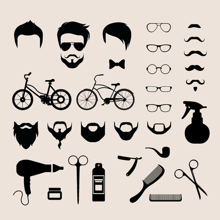 hair cut: Flat style set of male hipster haircut mustache glasses beard barber shop icons vector illustration. Barbershop hair cut mobile app application software interface element object template.