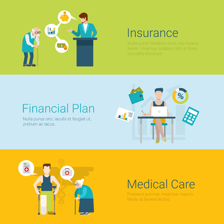 insurer: Flat style website slider banner insurance financial plan medical care concept web infographics. Old man and insurer agent, young accountant financial analyst, grannie and patient vector illustration.