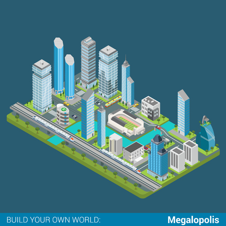 river bank: Flat 3d isometric megalopolis business city center river bank building block infographic concept. Skyscrapers office court bank restaurant stadium parking. Build your own infographics world collection Illustration