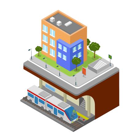 city block: Flat 3d isometric subway underground railway station concept web infographics vector illustration. Creative city block collection.