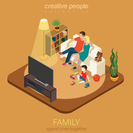 parenting: Family time parenting flat 3d isometric web infographic concept. Couple mother father and son in living room watching TV. Creative people family collection.