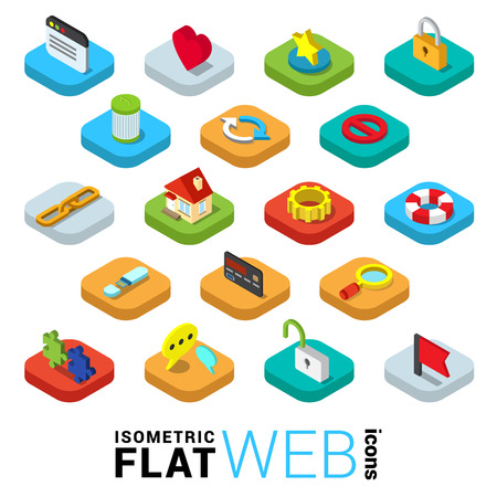 Flat 3d isometric trendy style web surfing mobile app infographics icon set. Window like favorite lock SSL encryption trash delete reload refresh link chain home cog. Website application collection.
