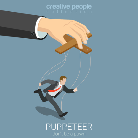 Flat 3d isometric style puppeteer business concept web infographics vector illustration. Businessman puppet and big managing hand. Creative people website conceptual collection.