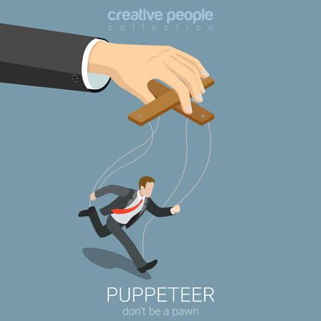 Wohnung isometrische 3D-Stil Puppenspieler Business-Konzept Web-Infografik Vektor-Illustration. Geschäftsmann Puppe und große Verwaltung Hand. Kreative Menschen Webseite konzeptionellen Sammlung.