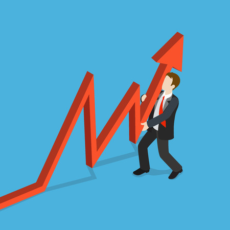 metaphoric: Flat 3d isometric key indicator support concept web infographics vector illustration. Businessman supporting red line arrow growing profit sale data. Creative people collection.