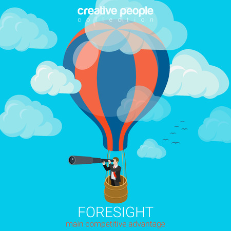 spyglass: Flat 3d isometric style business foresight future flight concept web infographics vector illustration. Businessman on balloon in sky look spyglass. Creative people website conceptual collection.