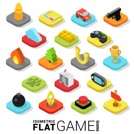 Flat 3d isometric trendy style game gaming gamification web mobile app infographics icon set. Website application collection.