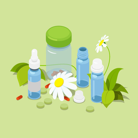 pistil: Flat 3d isometric herbal heeling cure alternative medicine concept web infographics vector illustration. Pistil pestle pounder chamomile leaves tablets dietary supplement powder flour can bottle.