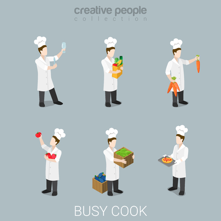 metaphoric: Flat 3d isometric style busy cook at work funny chief concept web infographics vector illustration icon set. Cooking knife agriculture vegetable uniform professional tools. Creative people collection.