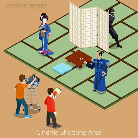 isometry: Cinema shooting area concept. Japan samurai geisha ninja movie stage. Flat 3d isometry isometric style web site app icon set concept vector illustration. Creative people collection.