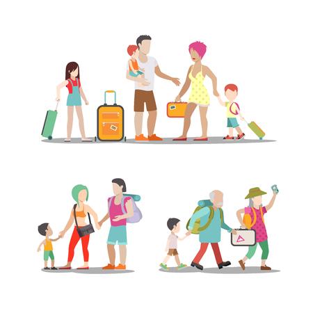 Familienurlaub eingestellt. Mann Frau Kinder gehen Spaß haben interessante Ferien-Illustration. Reisen Tourismus Lebensstil Sammlung. Vektorgrafik