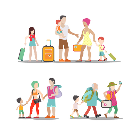 Family vacation set. Man woman children going have fun interesting holidays illustration. Travelling tourism life style collection.