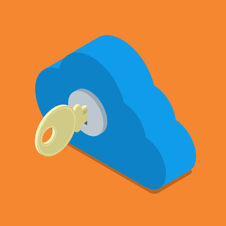 Cloud password lock security authentication icon. Flat 3d isometry isometric online internet technology web vector illustration. Key in cloud keyhole. Illustration