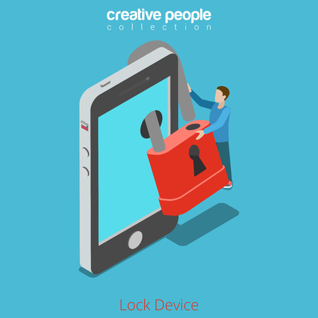 secure site: Lock your device secure content concept. Micro man locking lock over smartphone screen. Flat 3d isometry isometric style web site app icon set concept vector illustration. Creative people collection.