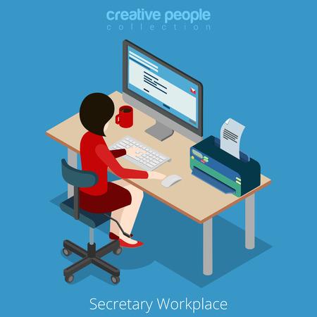 secretaria: estilo plano isométrico joven bastante hermosa secretaria adjunta de negocios gestor de jefe de contabilidad jefe en el lugar de trabajo. personas colección creativa. Vectores