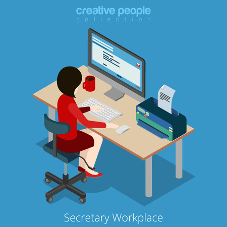 Flat style isometric young pretty beautiful businesswoman secretary assistant manager chief accountant boss at workplace. Creative people collection.