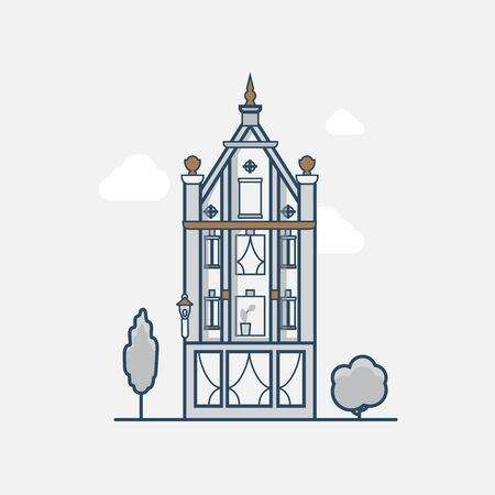 gothic architecture: Gothic Vintage architecture building hotel. Linear stroke outline flat style vector icons. Color line art icon collection.