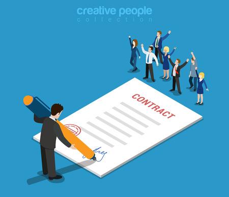 平らな 3 d の web 等尺性契約の署名とカジュアルなマイクロ人々 インフォ グラフィック概念ベクトル。小さな幸せのうれしそうなビジネス人々 は紙