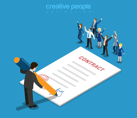 Flat 3d web isometric contract signature and casual micro people infographic concept vector. Little happy joyful business people paper sheet businessman signing. Creative people collection.