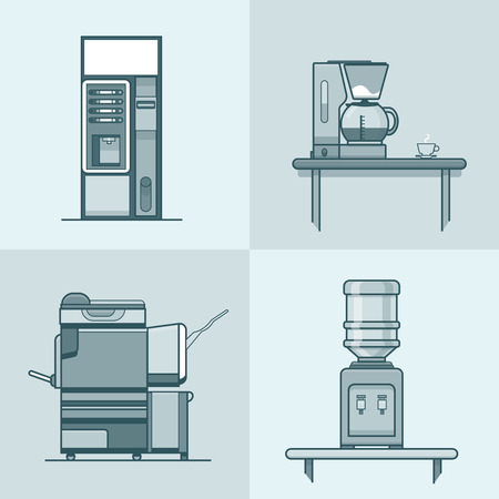 water cooler: Office kitchen technical room interior indoor set. Linear stroke outline flat style vector icons. Mono color coffee cooker vending machine multifunction copier water cooler icon collection.