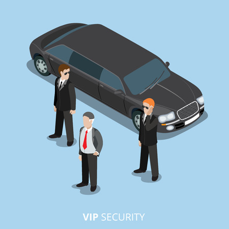 bodyguard: VIP Security Bodyguard Service flat 3d isometric web vector illustration. Creative people collection. Boss and bodyguards black limousine limo car. Illustration