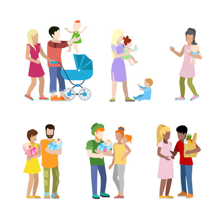 Pregnancy prenatal newborn family urban young people parents parenting nursing babysitting babysitter couple flat web infographic concept vector icon set. Creative people collection.