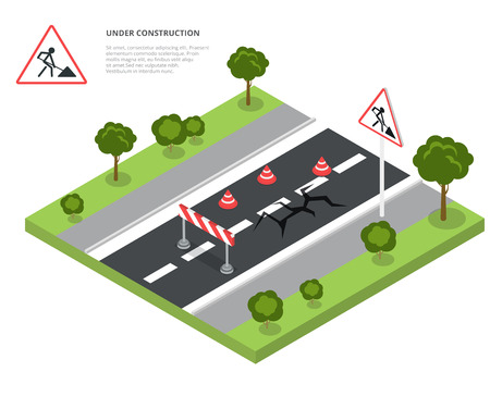 road construction: Road block under construction. Road sign, triangle cap, barrier. Flat 3d isometry isometric style web site app icon set concept vector illustration.