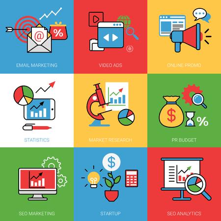 Conjunctuur opstartproces begrip vector illustratie set. image web banner kleur stijl lijntekeningen. Marketing Video ADS online promo statistiek marktonderzoek pr budget SEO analytics.