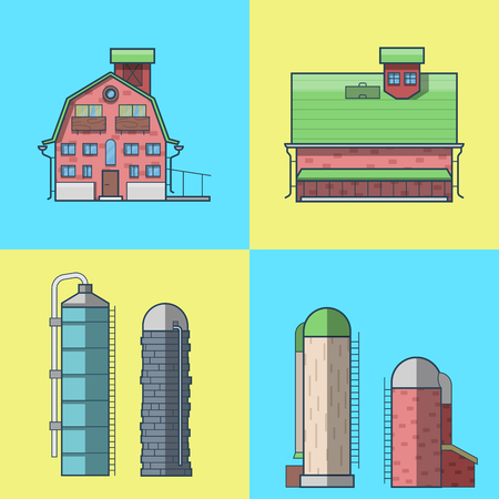 granary: Farm rancho barn store house warehouse granary hangar water tower architecture building set. Linear stroke outline flat style vector icons. Color icon collection.