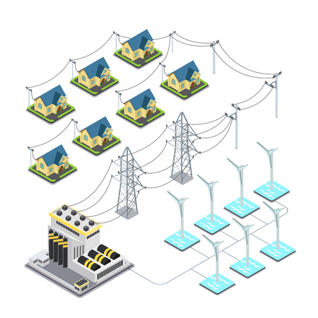 sea world: Sea wind energy propeller green village power supply cycle infographics concept. Flat 3d isometry isometric style web site vector illustration. Ecology eco power lifestyle sustainable world collection