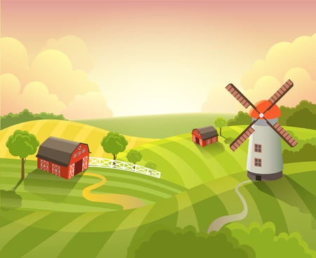 grassy field: Isometric countryside farm grassy field meadow scenic landscape dawn sunrise sunset daylight. Agriculture farming collection.