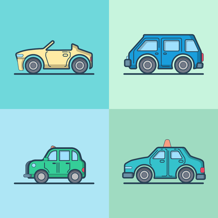 cabrio: Car automobile convertible cabriolet taxi cab mini bus sedan hatchback cool transport set. Linear stroke outline flat style vector icons. Color outlined icon collection.