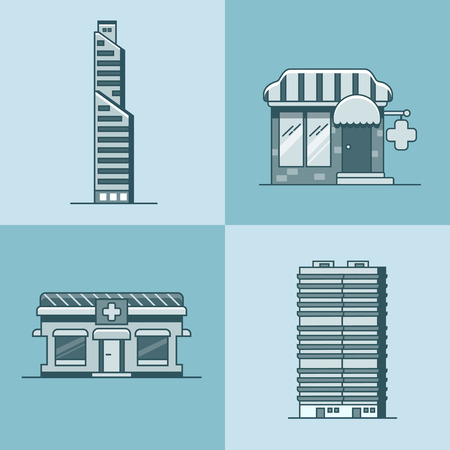 drug store: City town skyscraper house hospital pharmacy drug store architecture building set. Linear stroke outline flat style vector icons. Color linear icon collection.