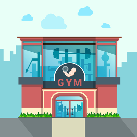 Gym building exterior outdoor front view facade showcase window concept. Flat style web site vector illustration. No people. Sports exercise conceptual.