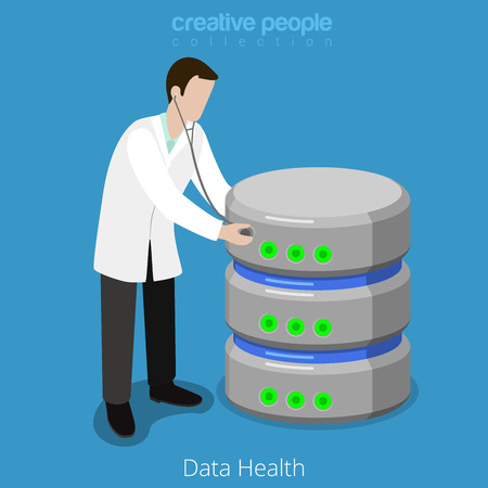 Database SQL storage HDD health checkup concept icon. Flat 3d isometry isometric web vector illustration. Doctor stethoscope check hard disk drive. Creative people technology collection.