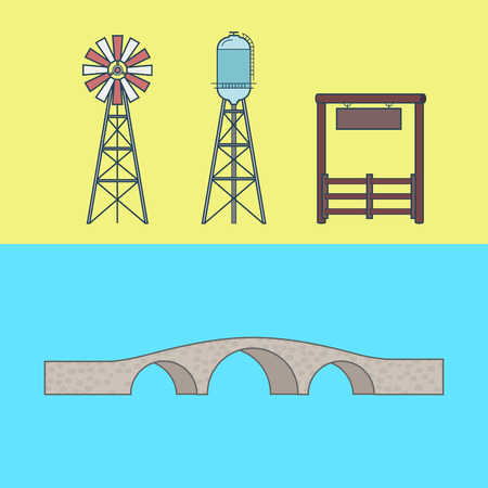 building color: Farm rancho entrance countryside water tower bridge element architecture building set. Linear stroke outline flat style vector icons. Color icon collection. Illustration